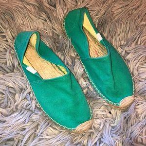 Anthro soludos green espadrille woven shoes 7